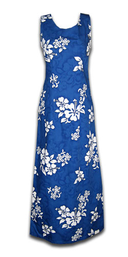 White Flower Blue Long Tank Dress