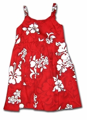 White Flower Red Girl's Bungee Dress