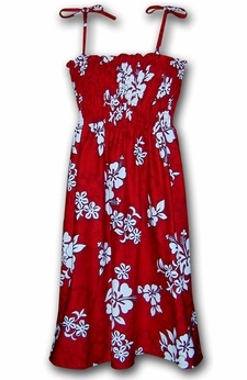 White Flower Red Spaghetti Tube Dress