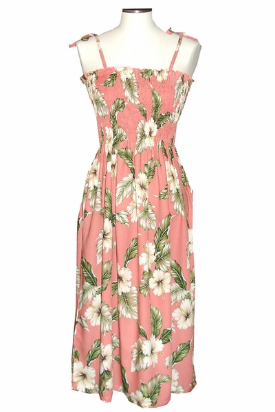 White Hibiscus Coral Mid-Length Tube Dress