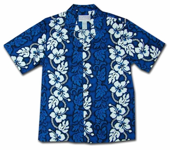 White Hibiscus Panel Blue Hawaiian Shirt
