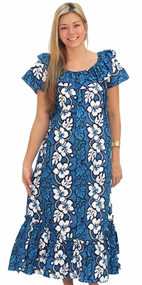 White Hibiscus Panel Blue Short Sleeve Muumuu