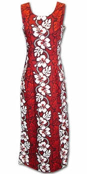 White Hibiscus Panel Red Long Hawaiian Tank Dress