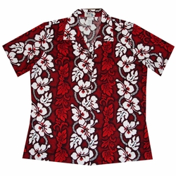 White Hibiscus Panel Red Women's Hawaiian Shirt