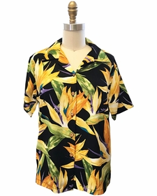 Women's Watercolor Paradise Black Campshirt
