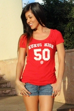Women's Kukui High Red Fitted Tee Shirt