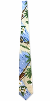 Woodies and Surfboard Island Blue Men's Necktie