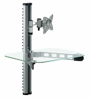 "*10-23"" Swivel/Tilt LCD Monitor HDTV+Single DVD VCR Stereo Cable Blu-Ray Media Wall Mount Shelf - Clear (WALLDVD15C)"