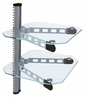*Dual Adjustable DVD Blu-Ray Media Wall Mount Shelf - Silver/Clear (WALLDVD3C)