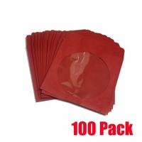iMBA Red CD/DVD/Blu-Ray Paper Sleeve Envelopes with Flap and Clear Window - 100Pack