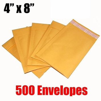 iMBAPrice 500 Count - #000 4 x 8 Kraft Bubble Mailers Padded Envelopes (iMBA-KM-000-500)
