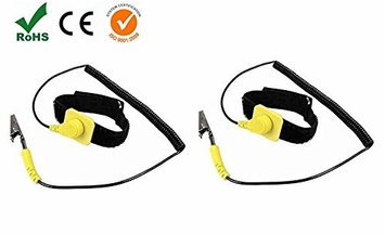 iMBAPrice® (Pack of 2) Anti-Static Adjustable Grounding Wrist Strap Components Black, Yellow