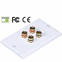 iMBAPrice® Premium 4 Connector Banana Wall Plate - Banana Plug Binding Post Wall Plate for Speakers