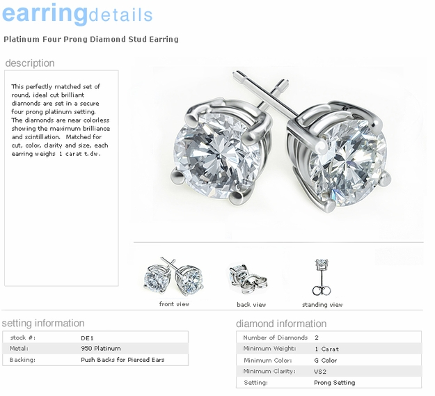 1.0 Carat ideal cut round brilliant platinum and diamond earring studs