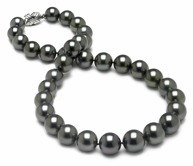 10.1 x 13mm Black Green Tahitian Pearl Necklace - 16 inch