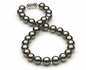 10.36 x 11.9mm Dark Grey Silver Tahitian Pearl Necklace