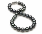 10.5 x 11.8mm Dark Black Blue/Green Tahitian Pearl Necklace