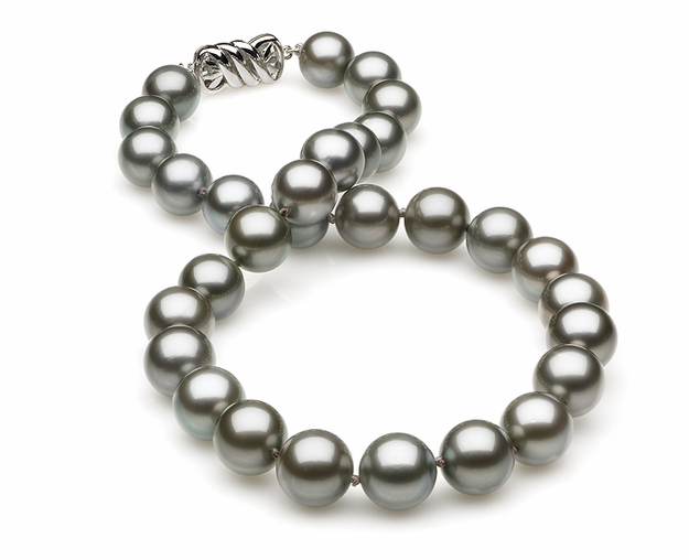 10.63 x 12.6mm Grey Tahitian Pearl Necklace