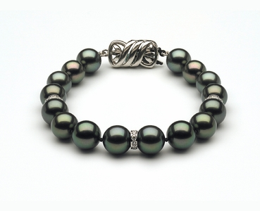 10 to 11mm Tahitian Pearl Bracelet with Diamond Rondells