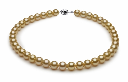10 x 10.9mm Golden Pearl Necklace Serial Number   s8-sn02413g-b12