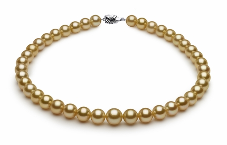 10 x 10.9mm Golden Pearl Necklace   Serial Number s8-sn02680g-b11