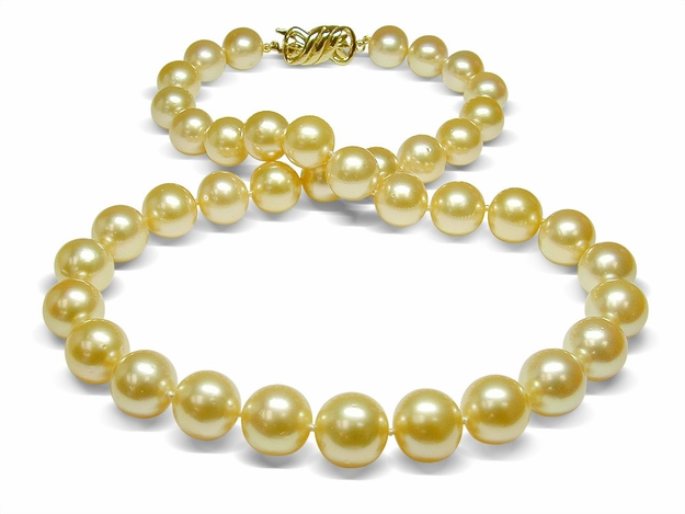 10 X 11.7 mm B Quality Golden South Sea Cultured Pearl Necklace - 16 inches