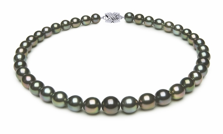 10 x 11.7mm Multicolor Oval Tahitian Pearl Necklace