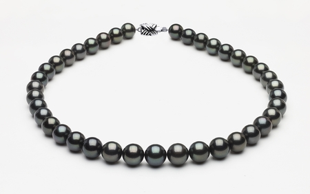 10 x 11.9mm Tahitian Pearl Necklace Dark Black | Serial Number s8-xe02129-b44