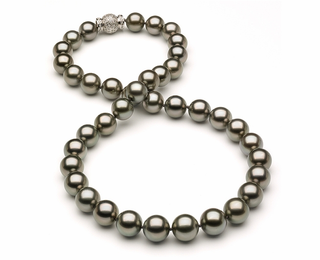 10 x 11.9mm Tahitian Pearl Necklace with Diamond Clasp