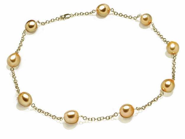 10 x 11mm Baroque Golden South Sea Cultured Pearl Tin Cup Necklace