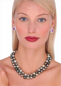 10 x 11mm Black Tahitian Cultured Pearl Double Strand Necklace - 16, 17 inches