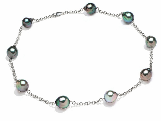 10 x 11mm Black Tahitian Drop Cultured Pearl Tin Cup Necklace