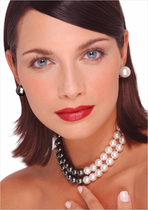 10 x 11mm Double Strand Tahitian and Australian Cultured South Sea Pearl Necklace