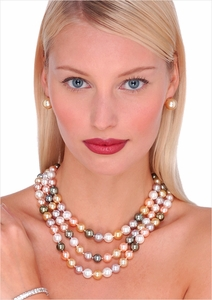 10 x 11mm Multicolor South Sea Cultured Pearl Triple Strand Necklace 16, 18, 20 inches