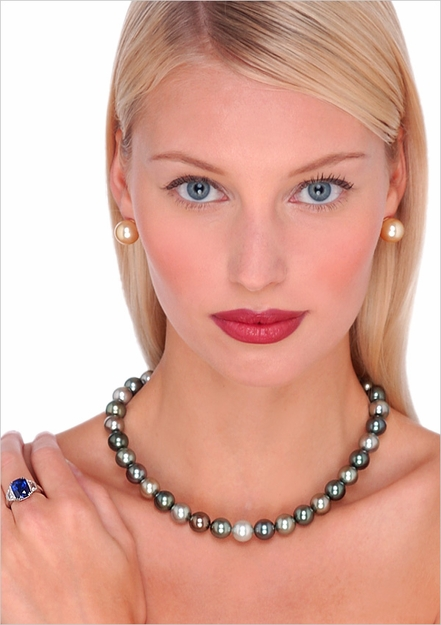 10 x 11mm Multicolor Tahitian South Sea Cultured Pearl Necklace
