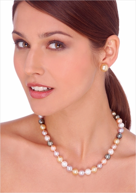10 x 11mm Mutlicolor South Sea Cultured Pearl Necklace - 16 inches