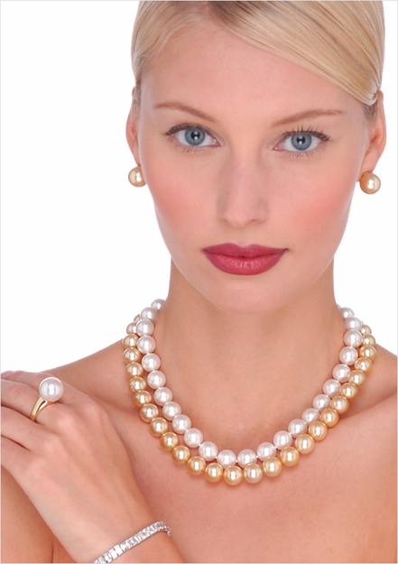 10 x 11mm South Sea Cultured Pearl Necklaces - 16 inches