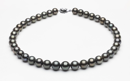 10 x 11mm Tahitian Pearl Necklace Dark Black Serial Number | s8-xa01208-b43