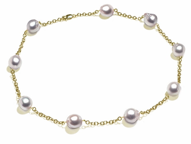 10 x 11mm White South Sea Baroque Cultured Pearl Tin Cup Necklace