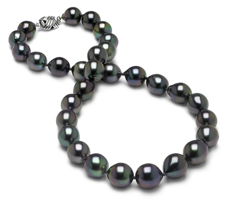 10 x 12.1mm Peacock Tahitian Drop Pearl Necklace - 16 inch
