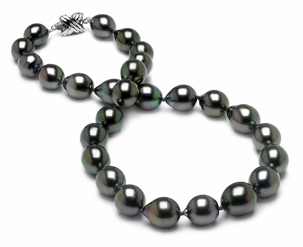 10 x 12.8mm Tahitian Drop Pearl Necklace - 16 inch
