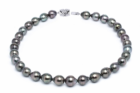 10 x 12mm Dark Black Baroque Tahitian Pearl Necklace