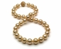 10 x 12mm Golden Pearl Necklace with Diamond Sapphire Clasp