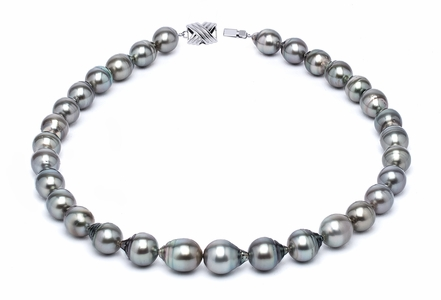 10 x 12mm Grey Baroque Tahitian Pearl Necklace 32 Inches