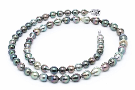 10 x 12mm Multicolor Baroque Tahitian Pearl Necklace 32 Inches