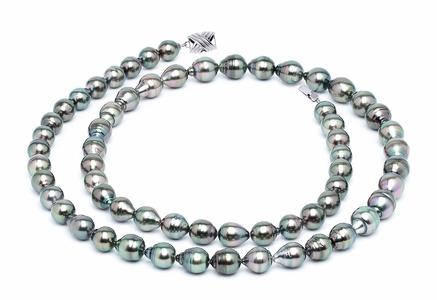 10 x 12mm Peacock Baroque Tahitian Pearl Necklace 32 Inches