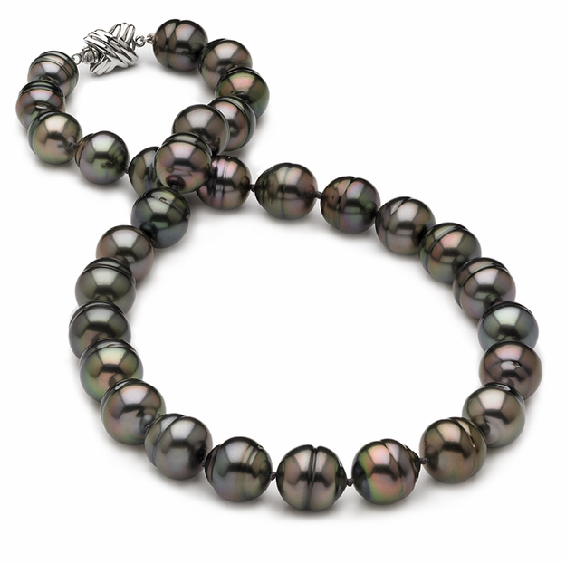 10 x 12mm Ringed Peacock Tahitian Pearl Necklace - 16 inch