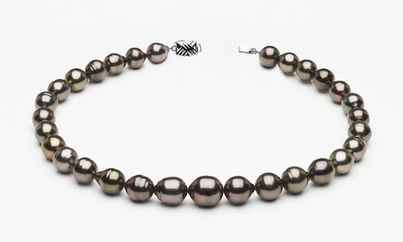 10 x 12mm Tahitian Pearl Aubergine Baroque Necklace | Serial Number s8-clabc-dark-color-b64