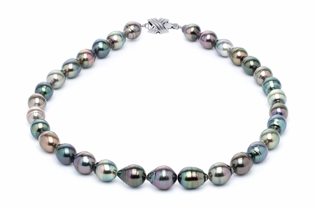 10 x 12mm Tahitian Pearl necklace Serial Number s10-multi-color-b24