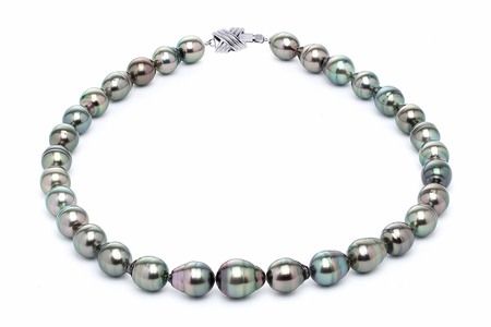 10 x 12mm Tahitian Pearl Necklace Serial Number | s11-peacock-color-b16